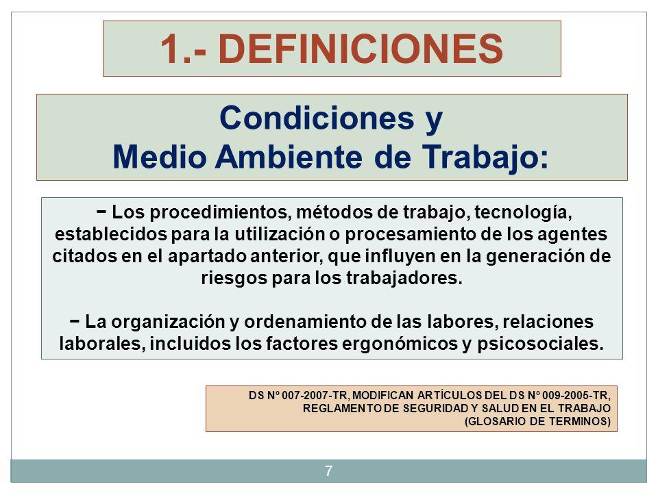 28 3.- NORMAS LEGALES R.M.N° 375-2008-TR TÍTULO VII CONDICIONES AMBIENTALES DE TRABAJO 30.