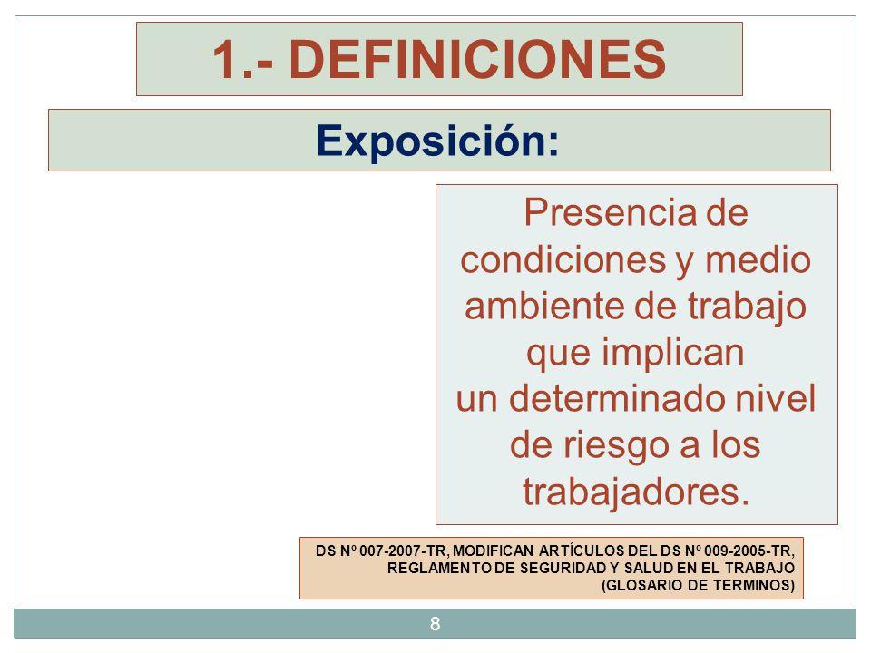 Exposición: DS Nº 007-2007-TR, MODIFICAN ARTÍCULOS DEL DS Nº 009-2005-TR, REGLAMENTO DE SEGURIDAD Y SALUD EN EL TRABAJO (GLOSARIO DE TERMINOS) Presenc