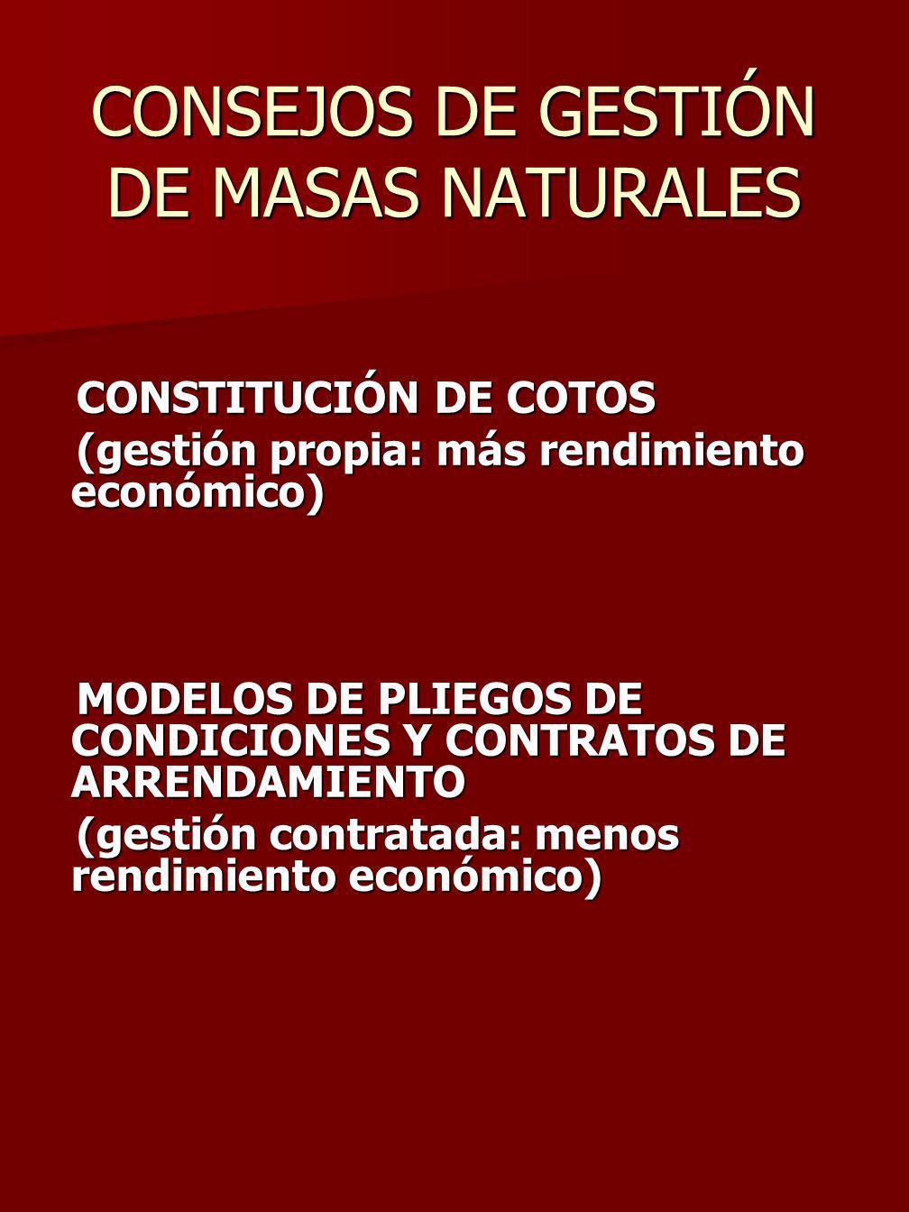 CONSEJOS DE GESTIÓN DE MASAS NATURALES CONSTITUCIÓN DE COTOS CONSTITUCIÓN DE COTOS (gestión propia: más rendimiento económico) (gestión propia: más rendimiento económico) MODELOS DE PLIEGOS DE CONDICIONES Y CONTRATOS DE ARRENDAMIENTO MODELOS DE PLIEGOS DE CONDICIONES Y CONTRATOS DE ARRENDAMIENTO (gestión contratada: menos rendimiento económico) (gestión contratada: menos rendimiento económico)