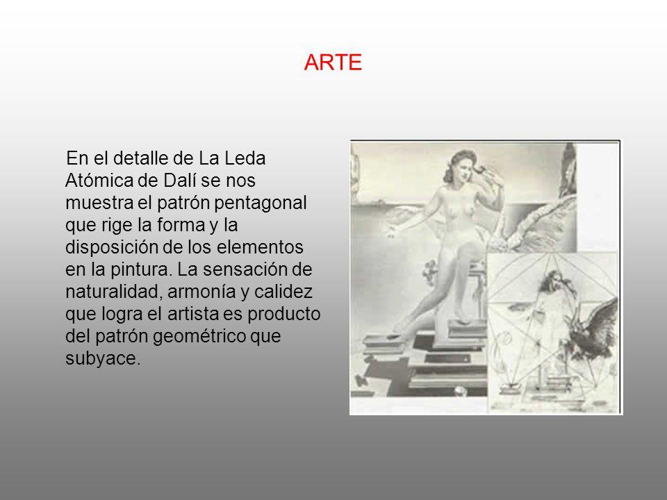 ARTE En el detalle de La Leda Atómica de Dalí se nos muestra el patrón pentagonal que rige la forma y la disposición de los elementos en la pintura.