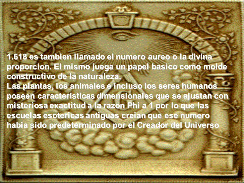 1.618 es tambien llamado el numero aureo o la divina proporcion.