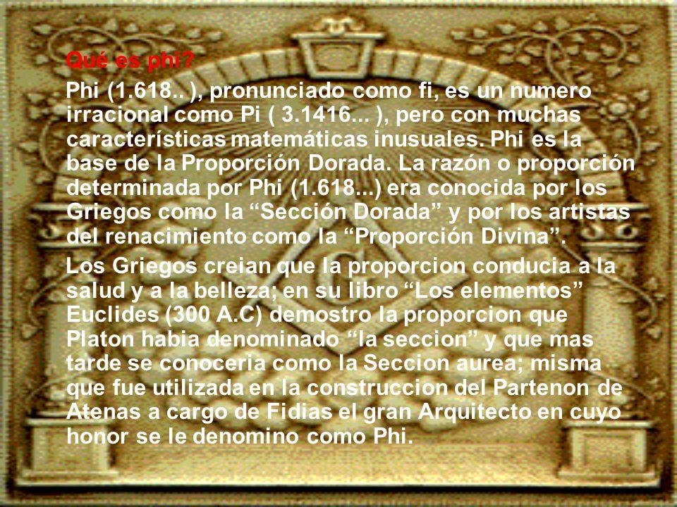 Qué es phi.Phi (1.618.. ), pronunciado como fi, es un numero irracional como Pi ( 3.1416...