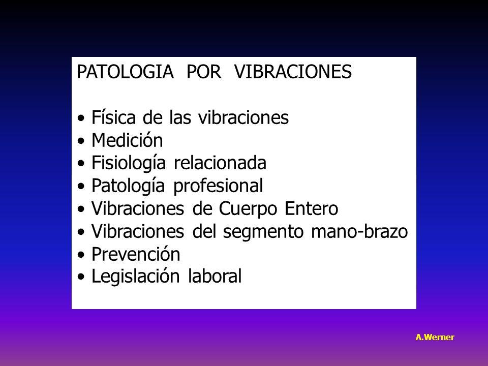 PATOLOGIA POR VIBRACIONES Física de las vibraciones Medición Fisiología relacionada Patología profesional Vibraciones de Cuerpo Entero Vibraciones del segmento mano-brazo Prevención Legislación laboral A.Werner