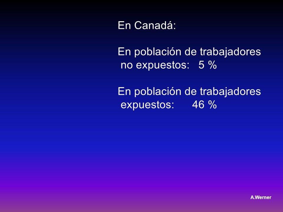 En Canadá: En población de trabajadores no expuestos: 5 % En población de trabajadores expuestos: 46 % A.Werner