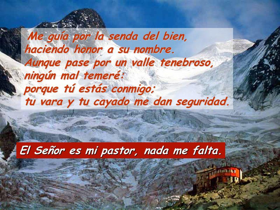 El Señor es mi pastor, nada me falta.Me guía por la senda del bien, haciendo honor a su nombre.