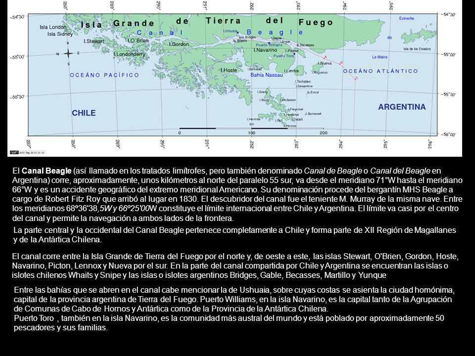 El Canal Beagle (así llamado en los tratados limítrofes, pero también denominado Canal de Beagle o Canal del Beagle en Argentina) corre, aproximadamen