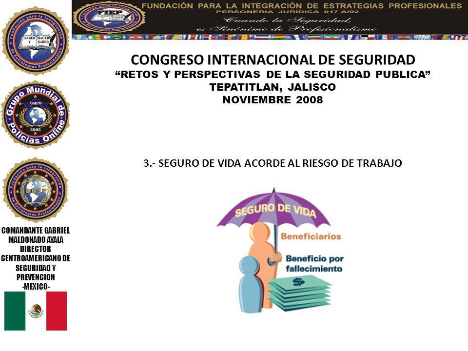 COMANDANTE GABRIEL MALDONADO AYALA DIRECTOR CENTROAMERICANO DE SEGURIDAD Y PREVENCION -MEXICO- CONGRESO INTERNACIONAL DE SEGURIDAD RETOS Y PERSPECTIVAS DE LA SEGURIDAD PUBLICA TEPATITLAN, JALISCO NOVIEMBRE 2008 14.- ELEVAR LA MORAL DE GRUPO, MINIMO EL DIA CONMEMORATIVO DEL POLICIA