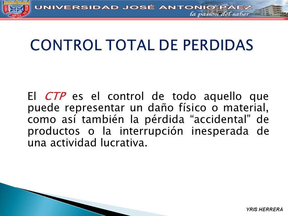 El CTP es el control de todo aquello que puede representar un daño físico o material, como así también la pérdida accidental de productos o la interru