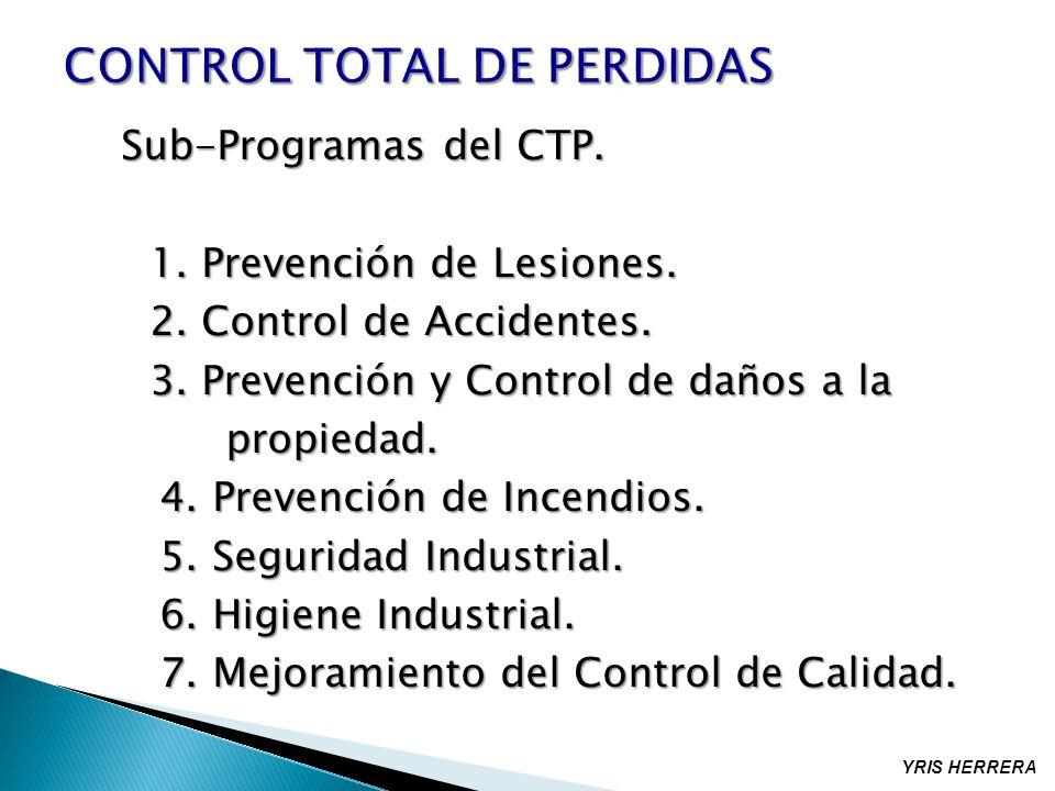 Sub-Programas del CTP. 1. Prevención de Lesiones. 2. Control de Accidentes. 3. Prevención y Control de daños a la propiedad. propiedad. 4. Prevención