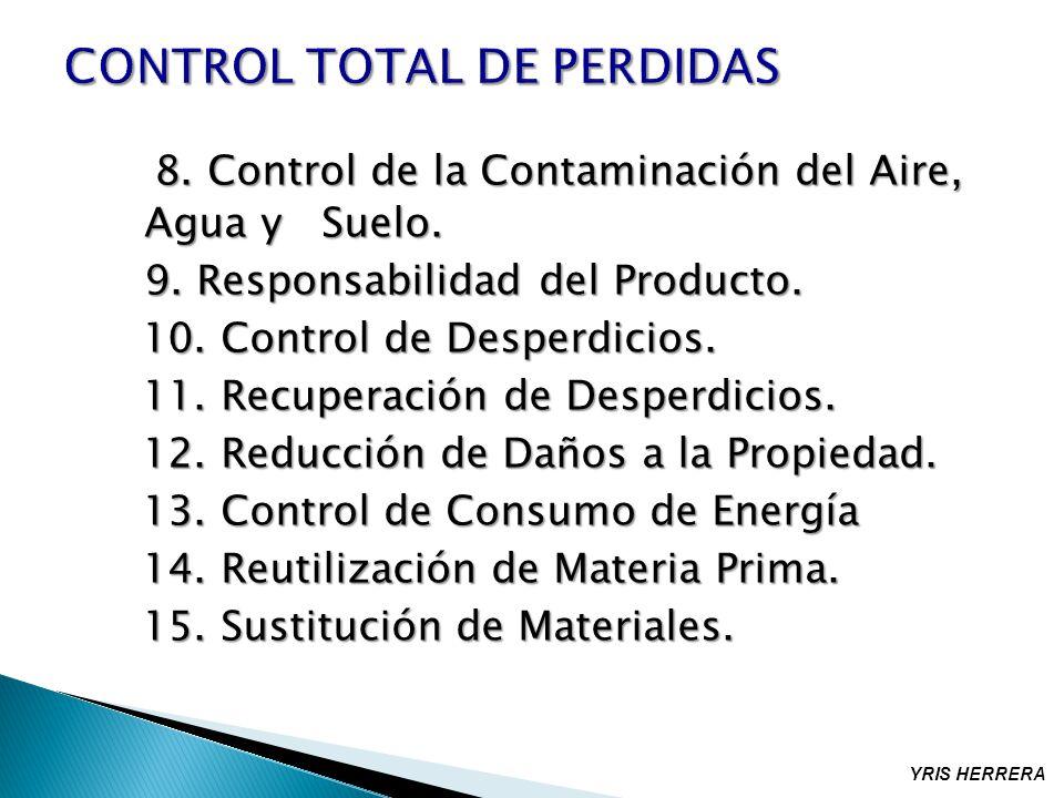 8. Control de la Contaminación del Aire, Agua y Suelo. 8. Control de la Contaminación del Aire, Agua y Suelo. 9. Responsabilidad del Producto. 10. Con
