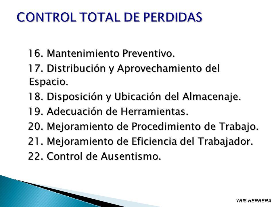 16. Mantenimiento Preventivo. 16. Mantenimiento Preventivo. 17. Distribución y Aprovechamiento del Espacio. 17. Distribución y Aprovechamiento del Esp