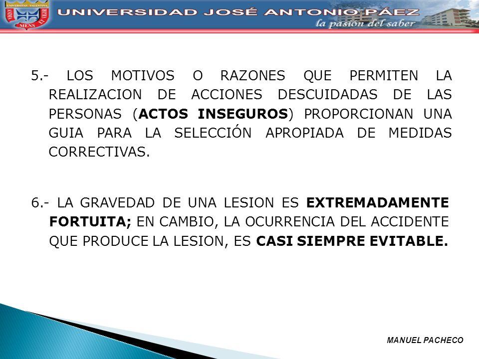 7.- LOS METODOS MAS VALIOSOS PARA LA PREVENCION DE ACCIDENTES SON ANÁLOGOS A LOS REQUERIDOS PARA EL CONTROL DE CALIDAD, COSTO Y CANTIDAD DE PRODUCCION.