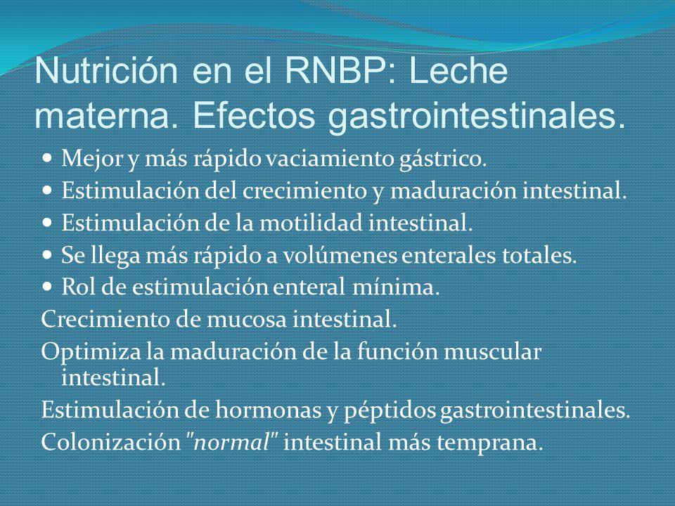 Nutrición en el RNBP: Leche materna. Efectos gastrointestinales. Mejor y más rápido vaciamiento gástrico. Estimulación del crecimiento y maduración in