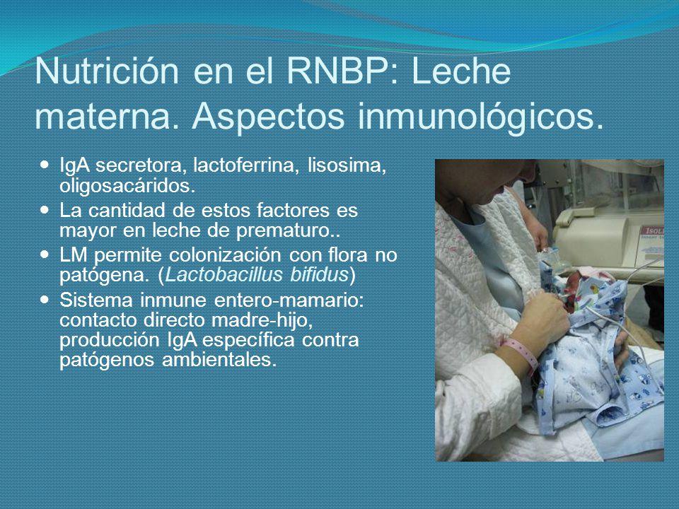 Nutrición en el RNBP: Leche materna. Aspectos inmunológicos. IgA secretora, lactoferrina, lisosima, oligosacáridos. La cantidad de estos factores es m