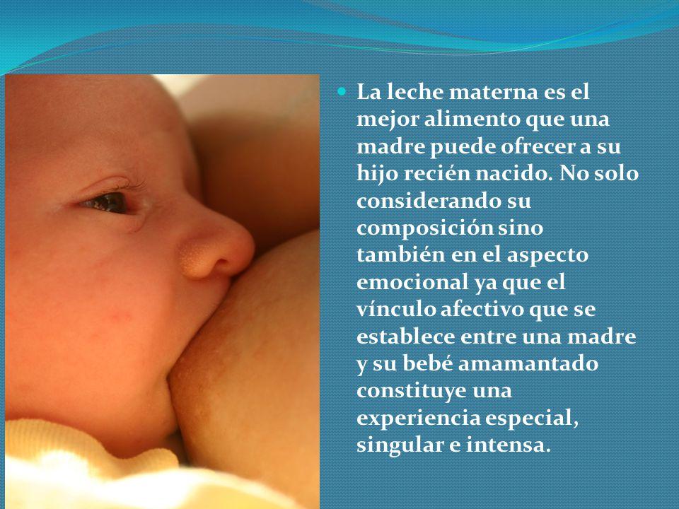 La leche materna es el mejor alimento que una madre puede ofrecer a su hijo recién nacido. No solo considerando su composición sino también en el aspe