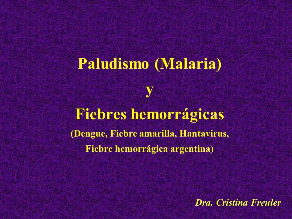 Paludismo (Malaria) y Fiebres hemorrágicas (Dengue, Fiebre amarilla, Hantavirus, Fiebre hemorrágica argentina) Dra.