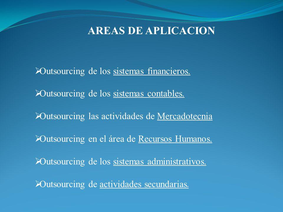 AREAS DE APLICACION Outsourcing de los sistemas financieros. Outsourcing de los sistemas contables. Outsourcing las actividades de Mercadotecnia Outso