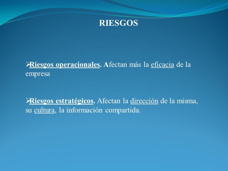 RIESGOS Riesgos operacionales. Afectan más la eficacia de la empresa Riesgos estratégicos. Afectan la dirección de la misma, su cultura, la informació