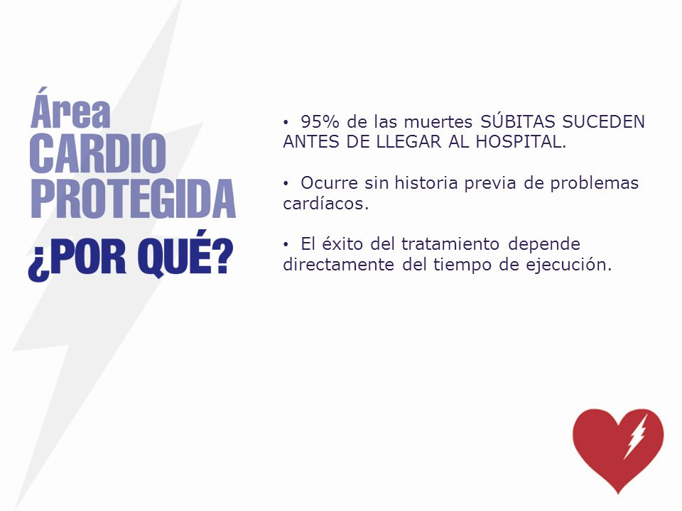 95% de las muertes SÚBITAS SUCEDEN ANTES DE LLEGAR AL HOSPITAL. Ocurre sin historia previa de problemas cardíacos. El éxito del tratamiento depende di
