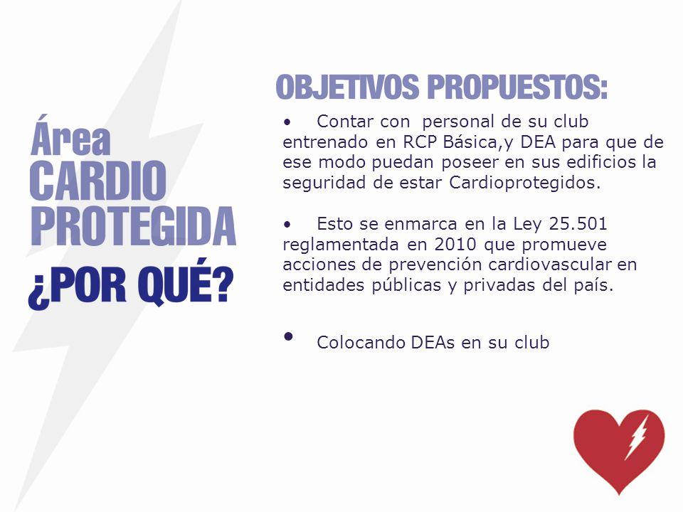 Contar con personal de su club entrenado en RCP Básica,y DEA para que de ese modo puedan poseer en sus edificios la seguridad de estar Cardioprotegido