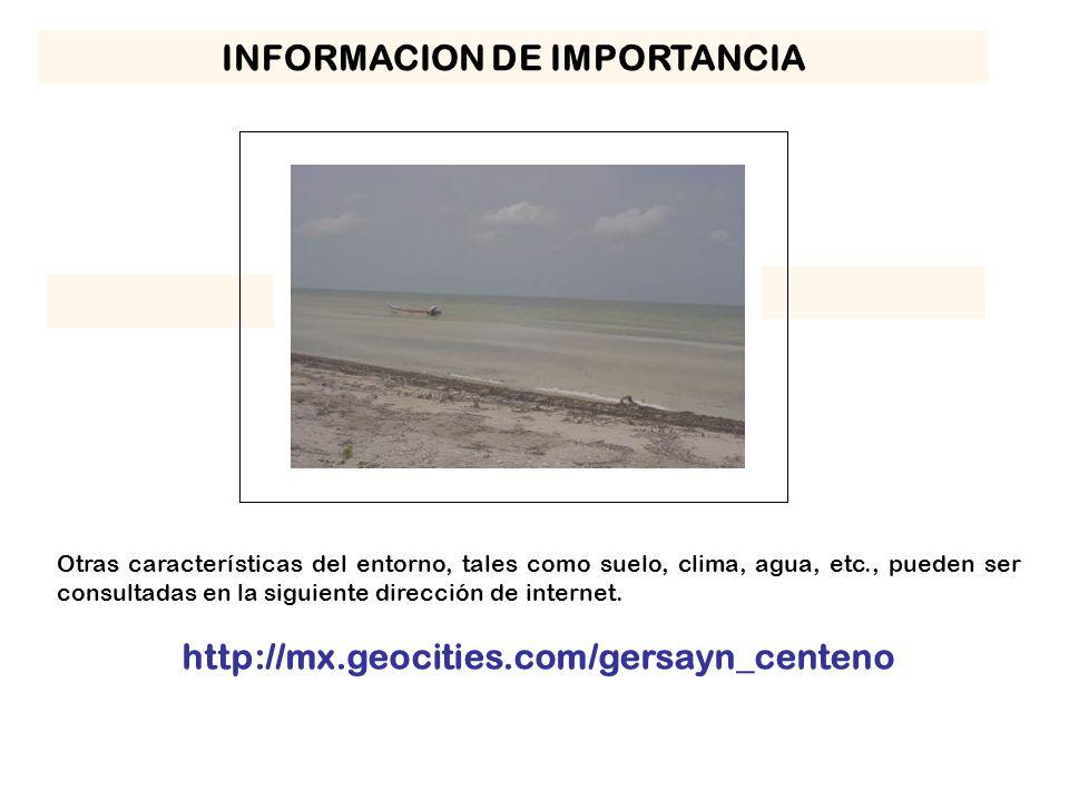 INFORMACION DE IMPORTANCIA Otras características del entorno, tales como suelo, clima, agua, etc., pueden ser consultadas en la siguiente dirección de internet.