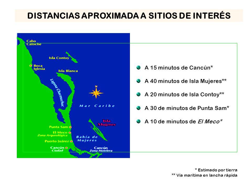 A 15 minutos de Cancún* A 40 minutos de Isla Mujeres** A 20 minutos de Isla Contoy** A 30 de minutos de Punta Sam* A 10 de minutos de El Meco* * Estimado por tierra ** Vía marítima en lancha rápida DISTANCIAS APROXIMADA A SITIOS DE INTERÉS