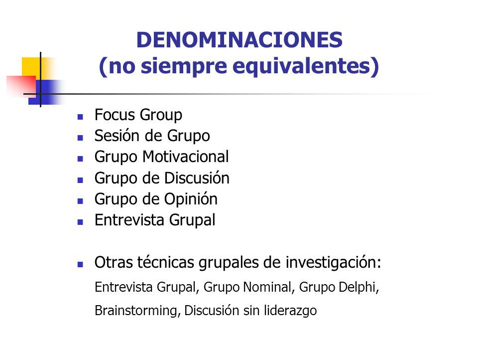 DENOMINACIONES (no siempre equivalentes) Focus Group Sesión de Grupo Grupo Motivacional Grupo de Discusión Grupo de Opinión Entrevista Grupal Otras técnicas grupales de investigación: Entrevista Grupal, Grupo Nominal, Grupo Delphi, Brainstorming, Discusión sin liderazgo