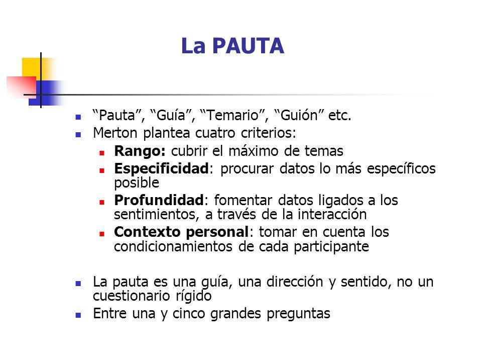 La PAUTA Pauta, Guía, Temario, Guión etc.