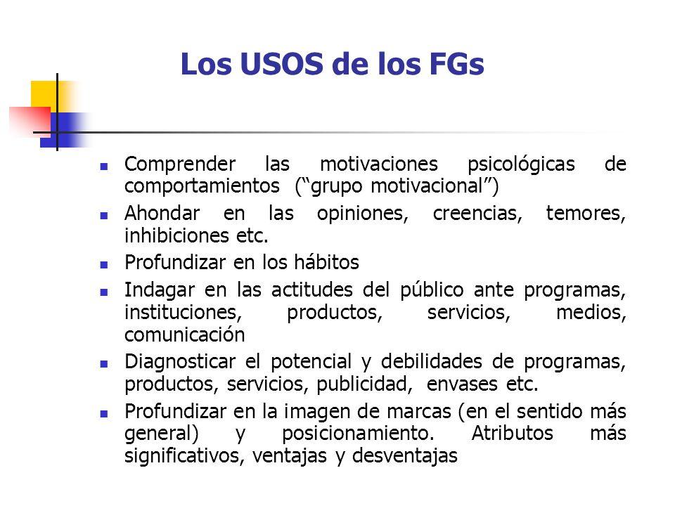 Los USOS de los FGs Comprender las motivaciones psicológicas de comportamientos (grupo motivacional) Ahondar en las opiniones, creencias, temores, inhibiciones etc.