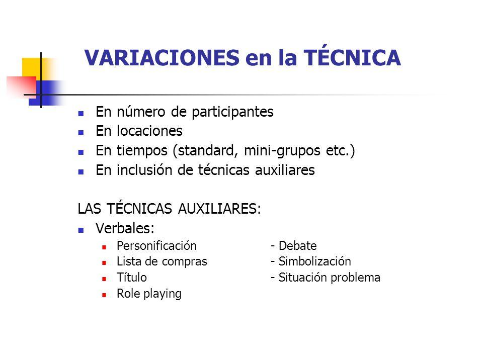 VARIACIONES en la TÉCNICA En número de participantes En locaciones En tiempos (standard, mini-grupos etc.) En inclusión de técnicas auxiliares LAS TÉC