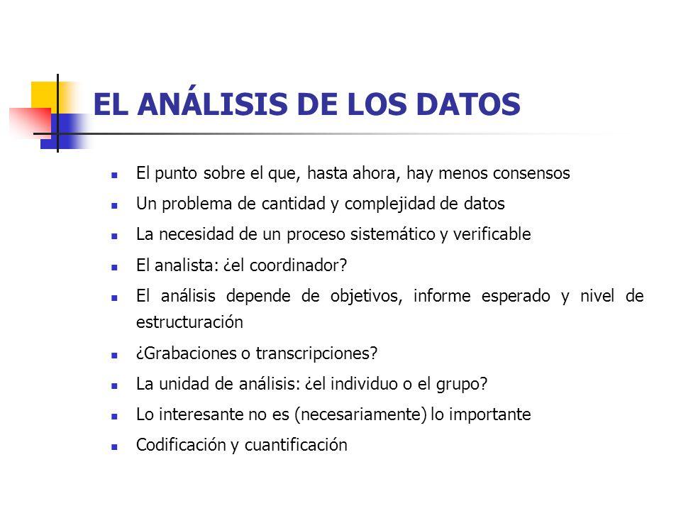 EL ANÁLISIS DE LOS DATOS El punto sobre el que, hasta ahora, hay menos consensos Un problema de cantidad y complejidad de datos La necesidad de un proceso sistemático y verificable El analista: ¿el coordinador.