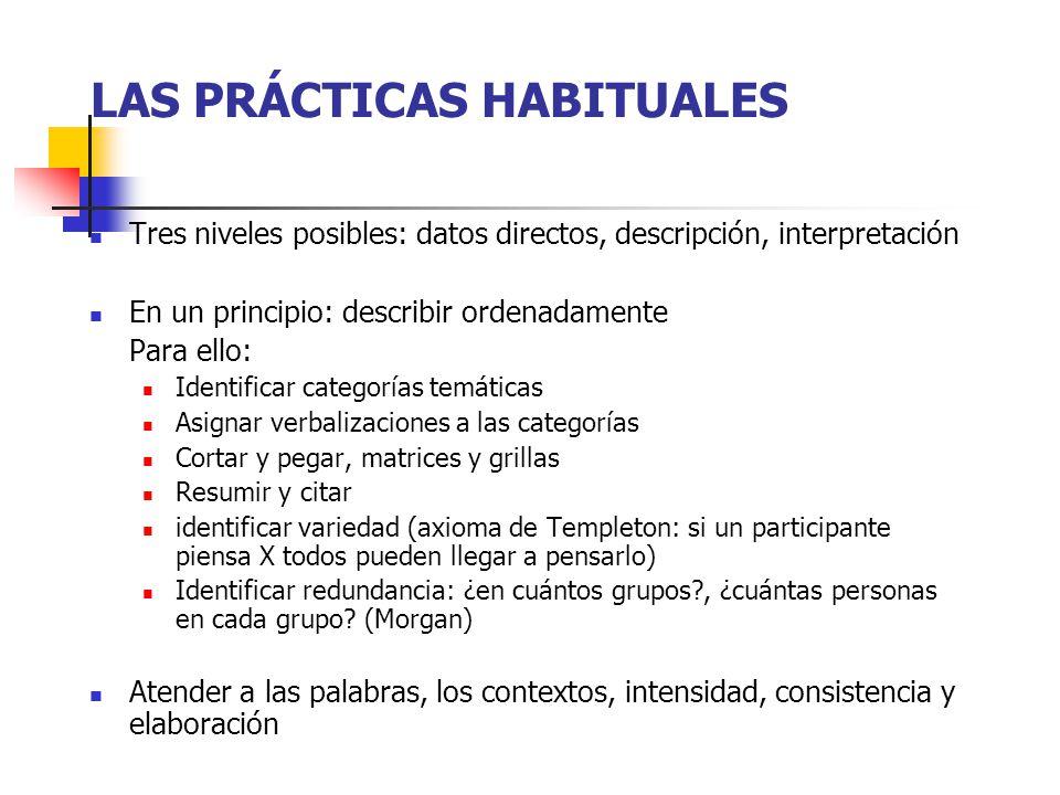 LAS PRÁCTICAS HABITUALES Tres niveles posibles: datos directos, descripción, interpretación En un principio: describir ordenadamente Para ello: Identi