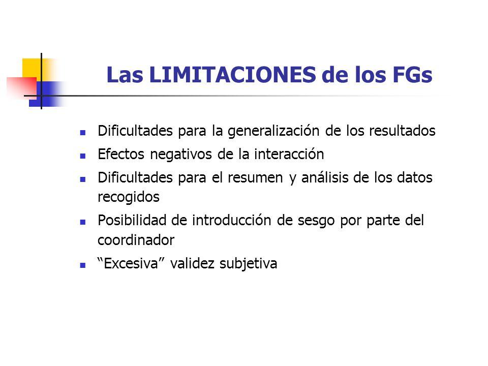 Las LIMITACIONES de los FGs Dificultades para la generalización de los resultados Efectos negativos de la interacción Dificultades para el resumen y a