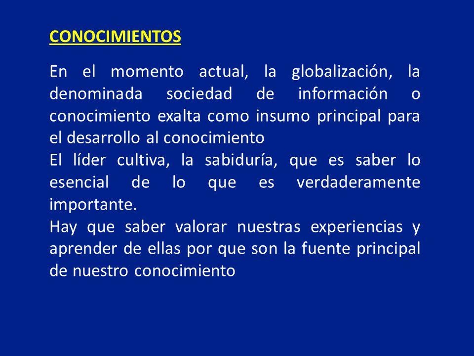 En el momento actual, la globalización, la denominada sociedad de información o conocimiento exalta como insumo principal para el desarrollo al conoci