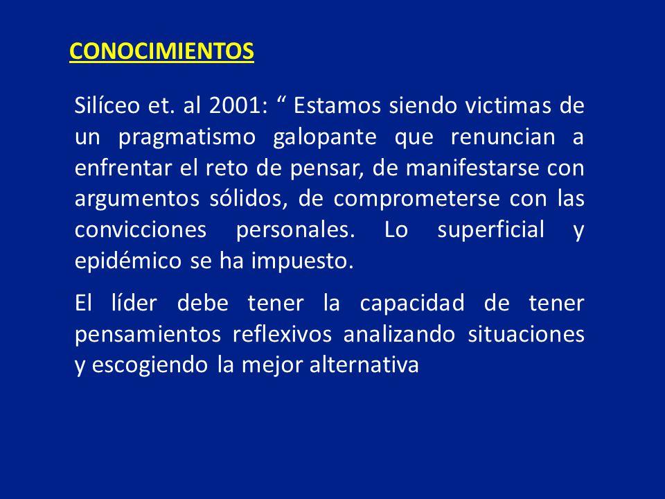 Silíceo et. al 2001: Estamos siendo victimas de un pragmatismo galopante que renuncian a enfrentar el reto de pensar, de manifestarse con argumentos s