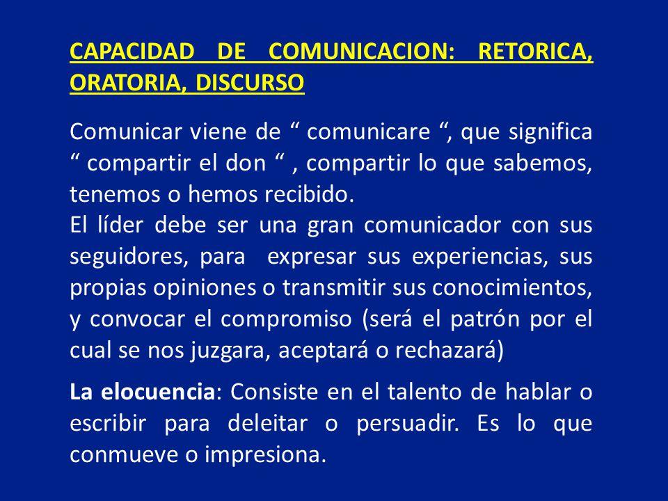 CAPACIDAD DE COMUNICACION: RETORICA, ORATORIA, DISCURSO Comunicar viene de comunicare, que significa compartir el don, compartir lo que sabemos, tenem