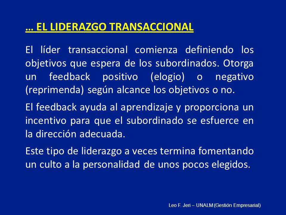 El líder transaccional comienza definiendo los objetivos que espera de los subordinados. Otorga un feedback positivo (elogio) o negativo (reprimenda)