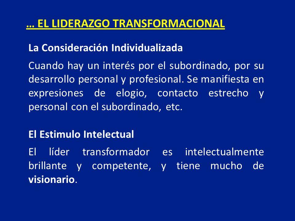La Consideración Individualizada Cuando hay un interés por el subordinado, por su desarrollo personal y profesional. Se manifiesta en expresiones de e
