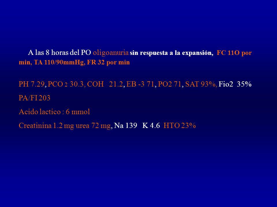 A las 8 horas del PO oligoanuria sin respuesta a la expansión, FC 11O por min, TA 110/90mmHg, FR 32 por min PH 7.29, PCO 2 30.3, COH 21.2, EB -3 71, PO2 71, SAT 93%, Fio2 35% PA/FI 203 Acido lactico : 6 mmol Creatinina 1.2 mg urea 72 mg, Na 139 K 4.6 HTO 23%