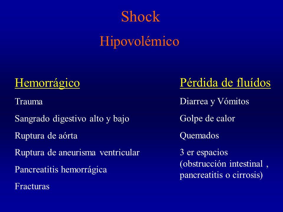 Shock Hemorrágico Trauma Sangrado digestivo alto y bajo Ruptura de aórta Ruptura de aneurisma ventricular Pancreatitis hemorrágica Fracturas Pérdida de fluídos Diarrea y Vómitos Golpe de calor Quemados 3 er espacios (obstrucción intestinal, pancreatitis o cirrosis) Hipovolémico