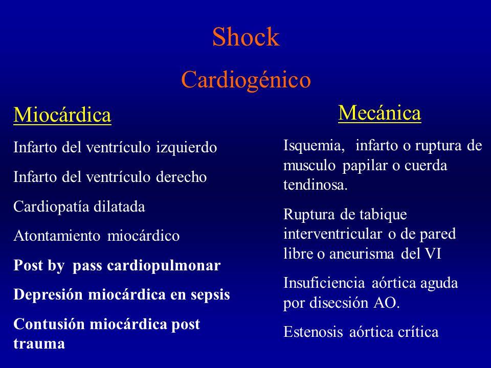 Shock Cardiogénico Miocárdica Infarto del ventrículo izquierdo Infarto del ventrículo derecho Cardiopatía dilatada Atontamiento miocárdico Post by pass cardiopulmonar Depresión miocárdica en sepsis Contusión miocárdica post trauma Mecánica Isquemia, infarto o ruptura de musculo papilar o cuerda tendinosa.