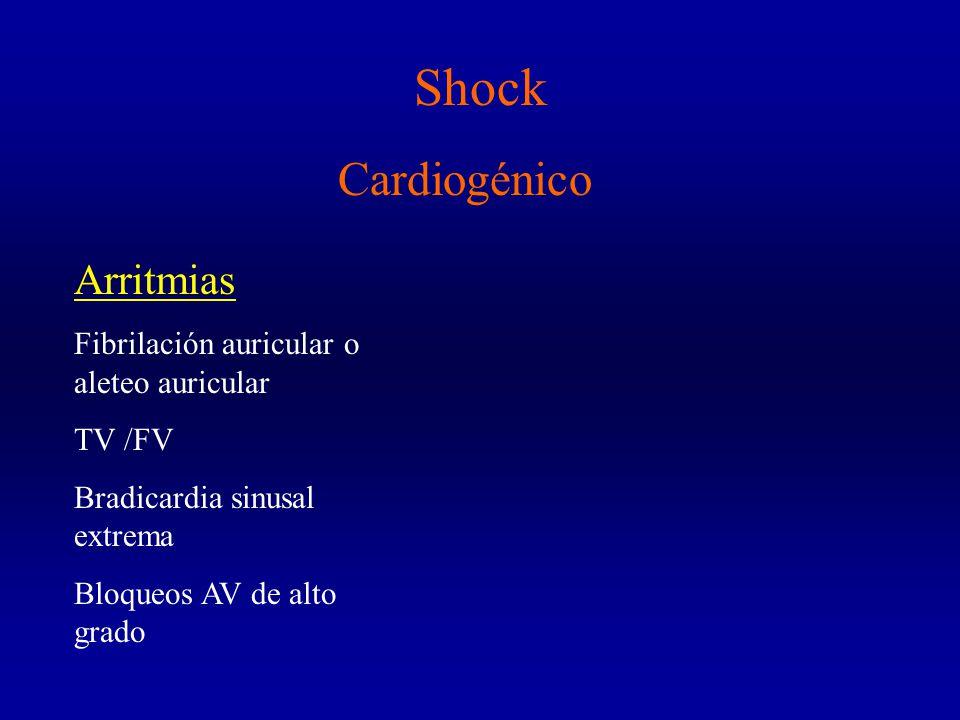 Shock Cardiogénico Arritmias Fibrilación auricular o aleteo auricular TV /FV Bradicardia sinusal extrema Bloqueos AV de alto grado
