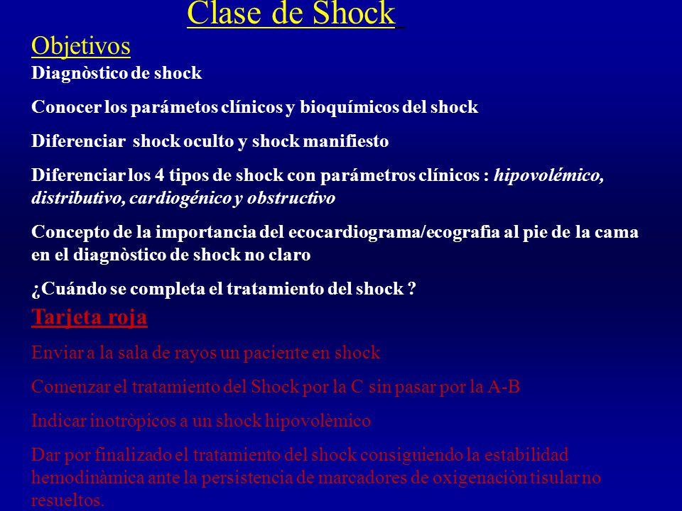 Objetivos Diagnòstico de shock Conocer los parámetos clínicos y bioquímicos del shock Diferenciar shock oculto y shock manifiesto Diferenciar los 4 tipos de shock con parámetros clínicos : hipovolémico, distributivo, cardiogénico y obstructivo Concepto de la importancia del ecocardiograma/ecografìa al pie de la cama en el diagnòstico de shock no claro ¿Cuándo se completa el tratamiento del shock .