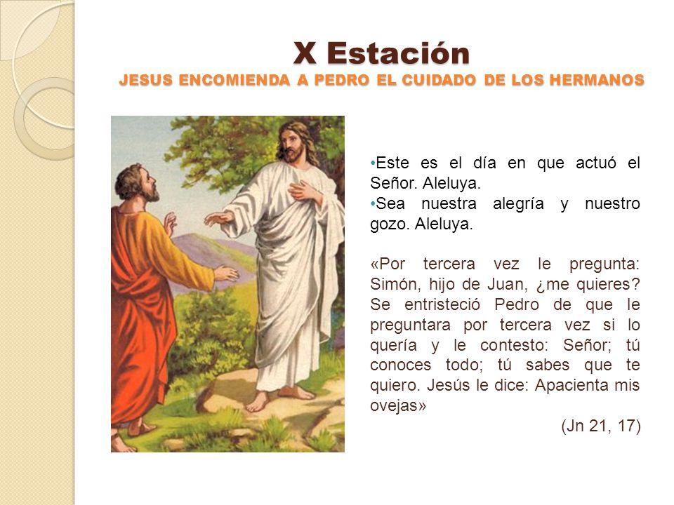 IX Estación JESUS SE MUESTRA A SUS DISCIPULOS EN EL LAGO DE TIBERIADES Este es el día en que actuó el Señor. Aleluya. Sea nuestra alegría y nuestro go
