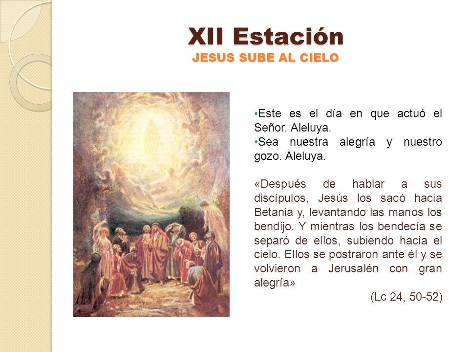 XI Estación JESUS ENVIA A SUS DISCIPULOS Este es el día en que actuó el Señor. Aleluya. Sea nuestra alegría y nuestro gozo. Aleluya. «Jesús se apareci