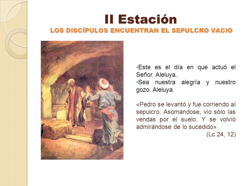 I Estación JESÚS RESUCITA DE ENTRE LOS MUERTOS Este es el día en que actuó el Señor. Aleluya. Sea nuestra alegría y nuestro gozo. Aleluya. «De pronto