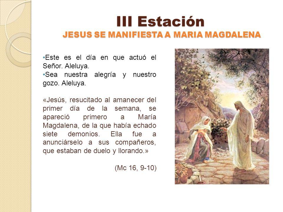 II Estación LOS DISCÍPULOS ENCUENTRAN EL SEPULCRO VACIO Este es el día en que actuó el Señor. Aleluya. Sea nuestra alegría y nuestro gozo. Aleluya. «P