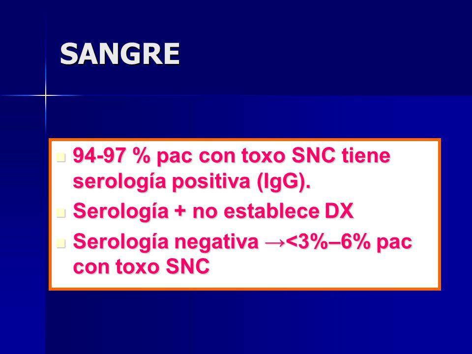 SANGRE 94-97 % pac con toxo SNC tiene serología positiva (IgG). 94-97 % pac con toxo SNC tiene serología positiva (IgG). Serología + no establece DX S