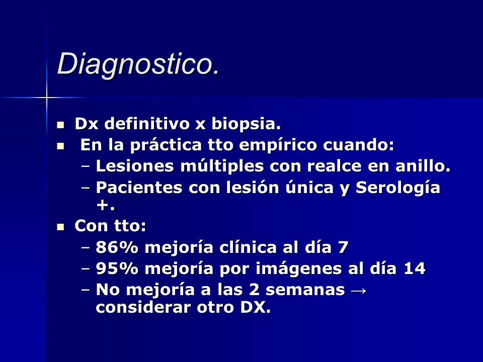 Diagnostico. Dx definitivo x biopsia. Dx definitivo x biopsia. En la práctica tto empírico cuando: En la práctica tto empírico cuando: –Lesiones múlti