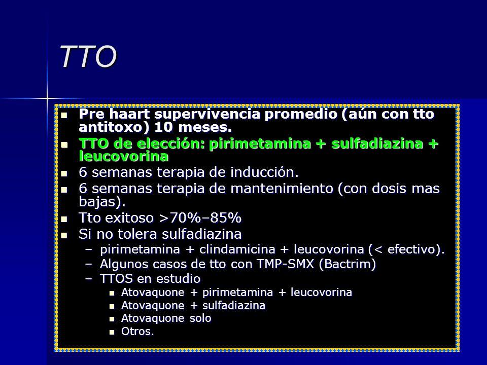 TTO Pre haart supervivencia promedio (aún con tto antitoxo) 10 meses. Pre haart supervivencia promedio (aún con tto antitoxo) 10 meses. TTO de elecció